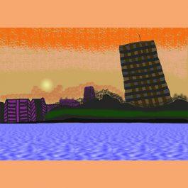 夕暮れ時の紫川と北九州市役所Web用沖野